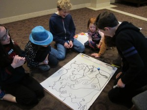 Castlemaker kids try an ozobot on the maze they created