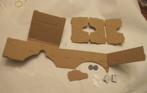 Google Cardboard Kit components. The magnets become a switch for the cell phone's magnetometer.