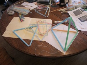 Several different tetrahedral kite drinking straw designs were tried to see what would be easiest to build.