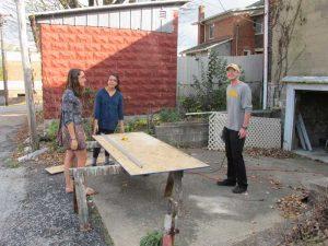 DePauw student team start building their miniature golf hole.