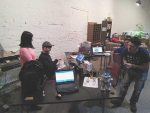 At our last 3DPO meetup, Curtiss scans a robot while John sets up a Makerbot 3D digitizer.