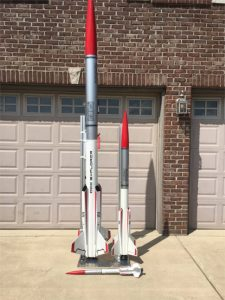 Nick's QCC rockets assembled, the one on the left has black intake plugs installed.