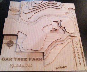 Rodney created this 3D wooden map using a downloaded USGS topo map & our CO2 laser.