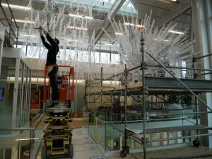 Installation of components & wiring for the sentient sculpture in Bloomington.