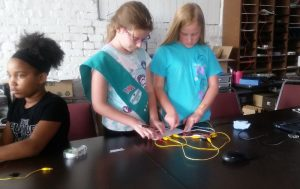 Central Indiana girl scouts learning about electronics & Arduinos.