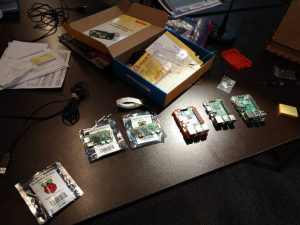 Some of the different Raspberry Pi models at the Makerspace.