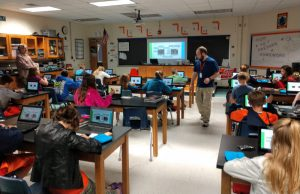 micro:bit / PCMI kits being distributed at North Putnam Middle School