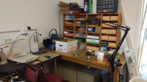 Electronics workbench area.