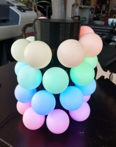 Web accessible lamp with ping pong balls for LED diffusion.