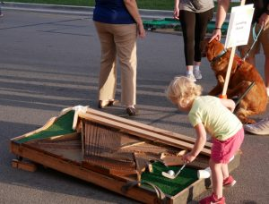 Sounding Board mini-golf hole made from an old piano.